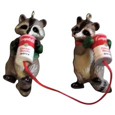 Vintage Tiny Raccoons & Campbell's Soup Can
