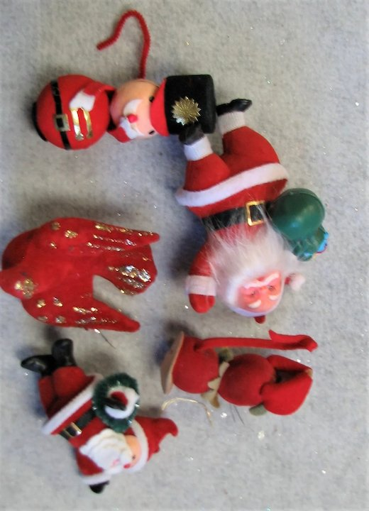 Christmas In July Five Felt Over Plastic Ornaments