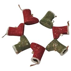 1950's Red & Green Velvet Flocked Christmas Boots
