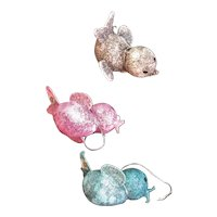 Three Pastel Cardboard & Glitter Mid Century Christmas Birds