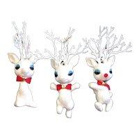 Three Mica Covered Christmas Reindeer