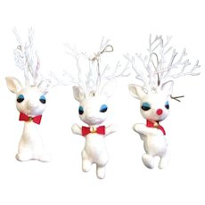 Three White Mica Covered Reindeer
