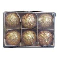 Vintage Gold Glitter Ornaments