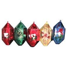 Four Fancy Hard Plastic Christmas Ornaments