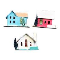 Three Little Putz Cardboard Christmas Houses