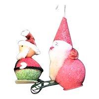 Two Spun Cotton Glitter Cotton Batting Ornaments