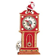 Red Felted Grandfather Musical Clock