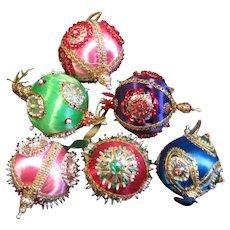 Six Vintage Hand Beaded Christmas Ornaments