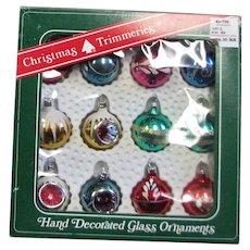 Tiny Mercury Glass Doll House Christmas Ornaments