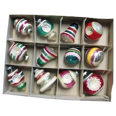 Box Of Shiny Brite Reflector, Finial,& Bell Glass Ornaments