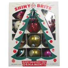 Box OF Shiny Brite Glass Ornaments