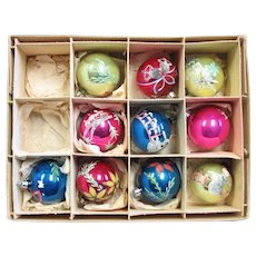 Ten Small Polish Mercury Glass Ornaments