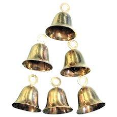 Six Mid Century Solid Brass Christmas Sleigh Bells