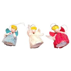 Three Made In Japan Cloth Covered Angels