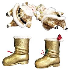Gold Flecked Santa & Christmas Boots