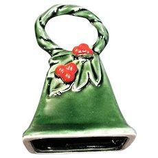 Green Lefton Christmas Porcelain Bell