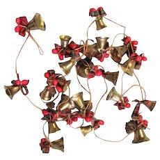 Long String Of Brass Bells Christmas Garland