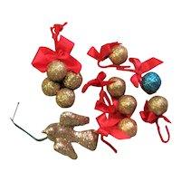 Assortment Gold Glitter Christmas Decorations