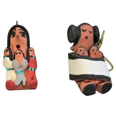 Two Hand Made New Mexico Pueblo Ornaments