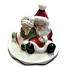 Sleeping Mr. & Mrs Santa Cookie Jar Topper