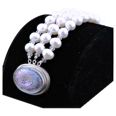 Magnificent Vintage Glass Clasp With White Freshwater Pearls