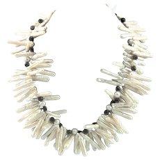 Amazing White Stick Pearls & Black Onyx Necklace