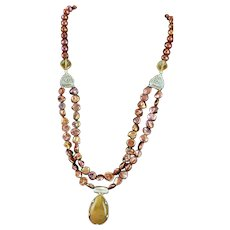 OOAK Gold Rutilated Quartz Pendent & Copper Freshwater Pearl Necklace