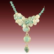 Designer Signed Larimar Pendant, Turquoise Swarovski Crystals, White Freshwater Pearls & Crystals Necklace