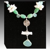 Hand Crafted Pendant With Fancy White & Light Gray Grade AAA Fancy Keishi Pearls & Chrysoprase Necklacde