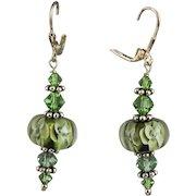 Olive Green Lamp Work Flower Beads, Swarovski Crystal & Sterling Earrings