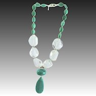 Designer Signed Natural Turquoise, Extra Large Crystal Beads Necklace