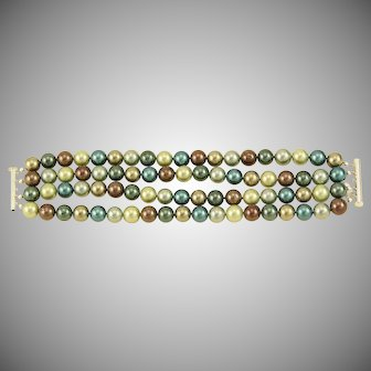 Four Strand Large Multi Colored MOP Bracelet