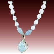 Designer Signed Larimar & Sterling Pendant, Aquamarine & White Fresh Water Pearl Necklace