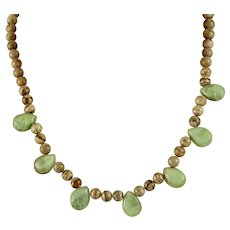 Lovely Picture Jasper With Tear Drop Peruvian Blue Opals Necklace