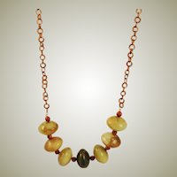 Extra Large Montana Opal Beads & Copper Chain Necklace