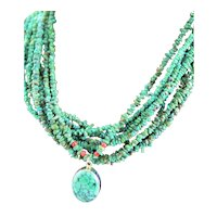 OOAK Turquoise, Coral Sterling Necklace