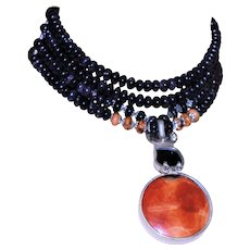 Choker Made of Goldstone Beads, Dichoric Glass & Coral Necklace