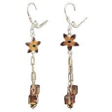 Gita Maria Tiny Enamel Sterling Flower Charm & Swarovski Crystal Earrings
