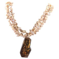 Magnificent Large Dark Amber & Freshwater Pearl Necklace