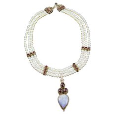 Three Strand White Freshwater Pearl & Garnet Necklace