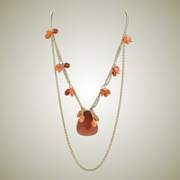Lovely Carnelian Beads & 14KGF Chain Necklace