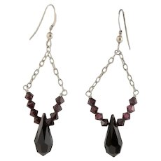 Dark Red Crystal & Sterling Earrings
