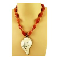 Carved & Inlayed W//Coral & Turquoise Pendant Necklace