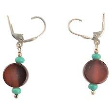 Darling Little Carnelian & Turquoise Earrings