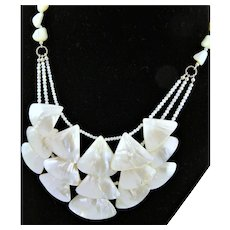 Three Strand Triangular Shaped Mother of Pearl Necklace