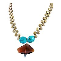 Amber Crystal & Sterling Pendant & Turquoise & Cultured Pearl Necklace