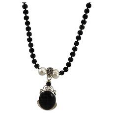 Artisan Made Black Onyx & Sterling Hand Made Pendent With Small Flat Onyx Beads & Pearls Necklace