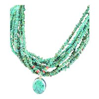 Natural Turquoise & Coral Sterling Necklace