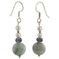 OOAK Designer Amazonite, Crystals, White Freshwater Pearls & Sterling Earrings