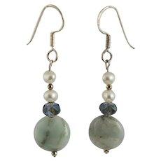 Amazonite Cultured Pearl Earrings